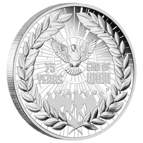 2020 オーストラリア 第二次世界大戦終結75周年記念 1ドル銀貨 1オンス プルーフ 箱とクリアケース付き 新品未使用