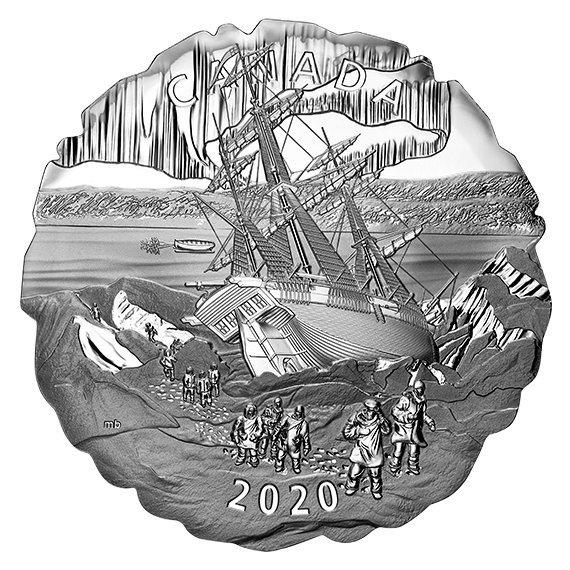 2020 カナダ フランクリンの失われた遠征175周年記念 50ドル銀貨 5オンス プルーフ 箱とクリアケース付き 新品未使用