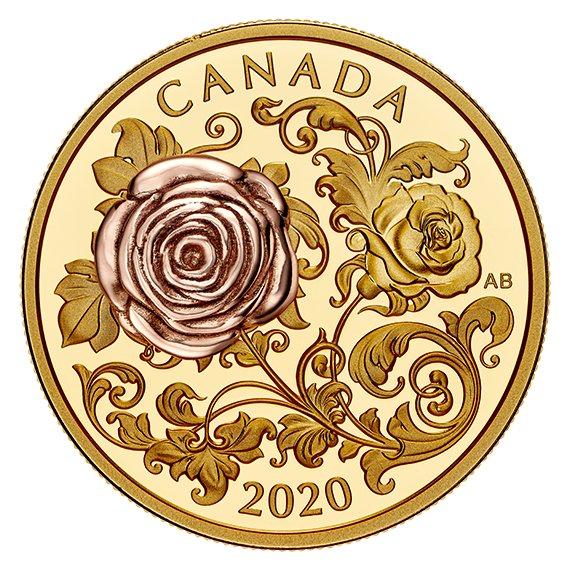 2020 カナダ クィーン・エリザベス薔薇 200ドル金貨 1オンス プルーフ 箱とクリアケース付き 新品未使用