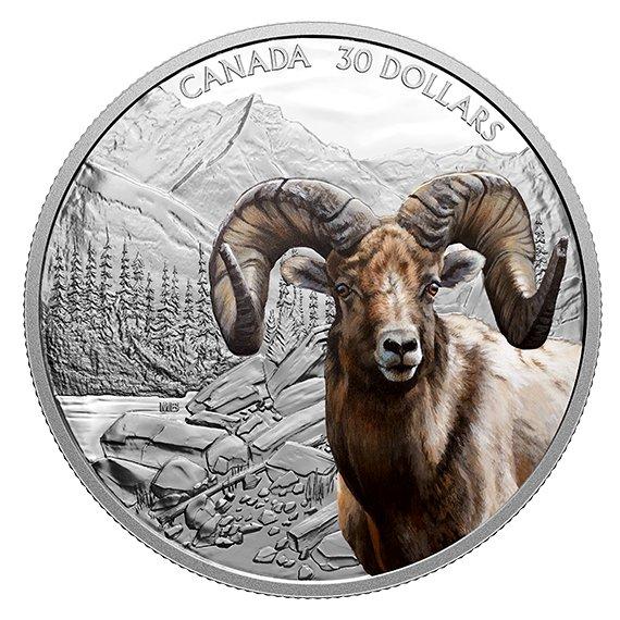 2020 カナダ 雄偉な姿:オオツノヒツジ 銀貨 2オンス プルーフ 箱とクリアケース付き 新品未使用