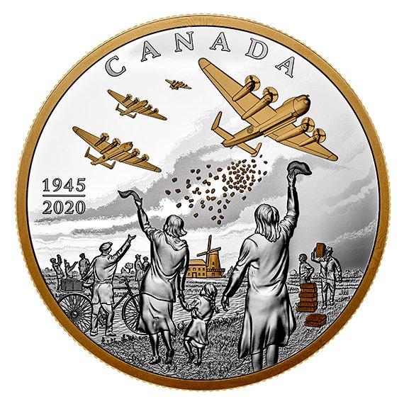 2020 カナダ オランダの解放:マナ作戦 100ドル銀貨 10オンス プルーフ 箱とクリアケース付き 新品未使用