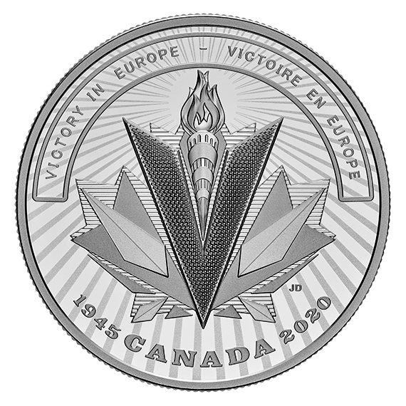 2020 カナダ 第二次世界大戦の戦場:ヨーロッパ戦線における勝利 20ドル銀貨 1オンス プルーフ 箱とクリアケース付き 新品未使用