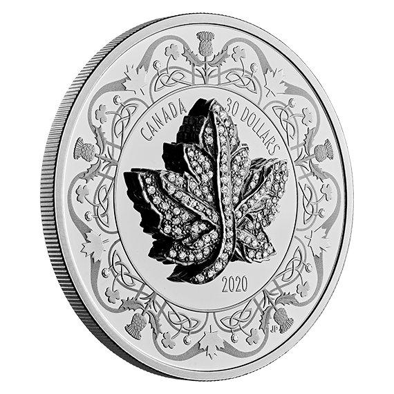 2020 カナダ 受け継がれるメイプルリーフ・ブローチ 30ドル銀貨 2オンス プルーフ 箱・クリアケース・ミニチュアペンダント付き 新品未使用