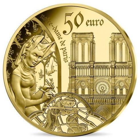 2020 フランス ゴシック時代のヨーロッパ 50ユーロ金貨 プルーフ 箱とクリアケース付き 新品未使用