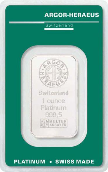 1オンス スイス アルゴー・ヘレウス社製 「プラチナ」バー