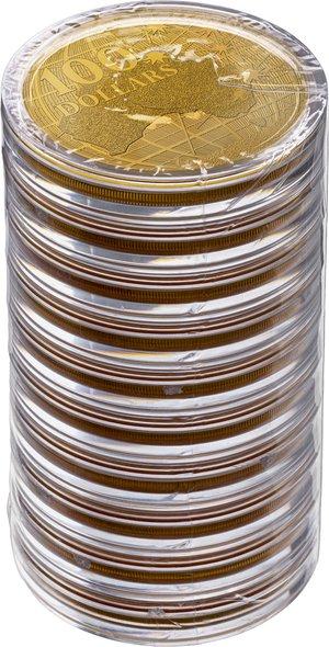 2020 オーストラリア 南十字星の下 100ドル金貨 1オンス 【10枚】セット 39mmクリアケース付き 新品未使用