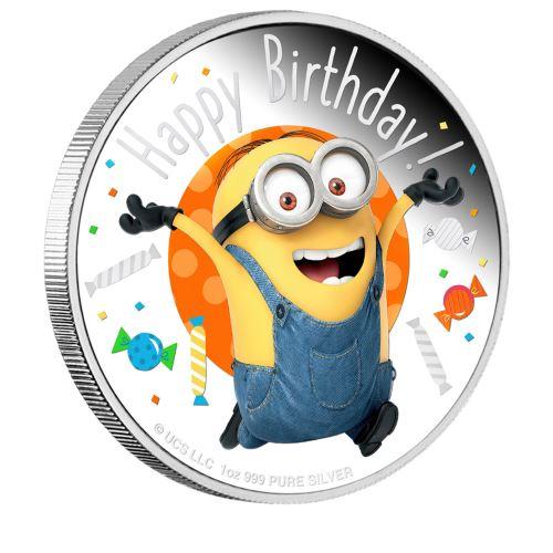 2020 ニウエ ミニオン誕生日祝い 銀貨 1オンス プルーフ バースデーカード型フォルダー付き 新品未使用
