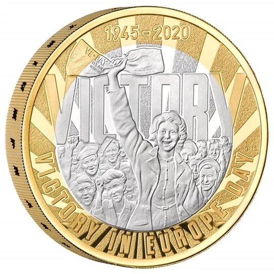 2020 イギリス ヨーロッパ戦線戦勝75周年記念 2ポンド銀貨 ピエフォー(厚手型) プルーフ 箱とクリアケース付き 新品未使用