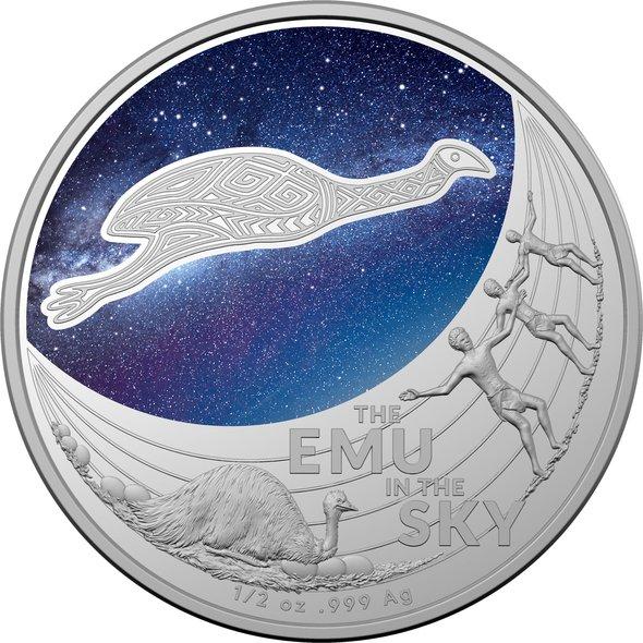 2020 オーストラリア 星と創世神話:空のエミュー 1ドル銀貨 1/2オンス 箱とクリアケース付き 新品未使用