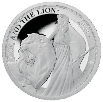 2020 セントヘレナ ウナとライオン 1ポンド銀貨 1オンス プルーフ 箱とクリアケース付き 新品未使用