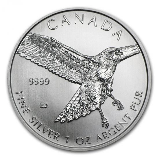 新品未使用 2015 カナダ 獲物を狙う鳥シリーズ 銀貨 1オンス レッドテールホーク【3】【25枚】セット 38mmクリアーケース【25枚】とミントロール付き