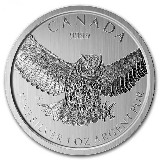 新品未使用 2015 カナダ 獲物を狙う鳥シリーズ 銀貨 1オンス アメリカワシミミズク【4】【25枚】セット 38mmクリアーケース【25枚】とミントロール付き