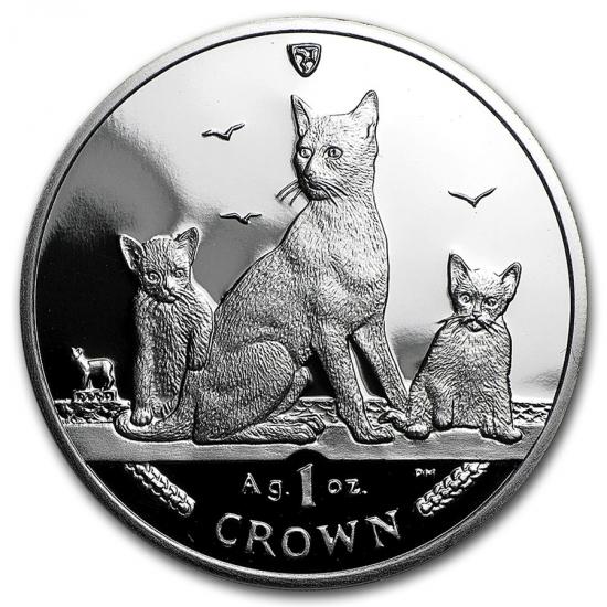 新品未使用 2016 マン島 1オンス 1クラウン銀貨プルーフ ブラウン キャット