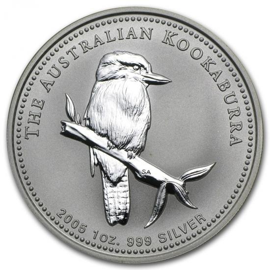 新品未使用 2005 オーストラリア クッカバラ(カワセミ) 銀貨 1オンス クリアーケース付き