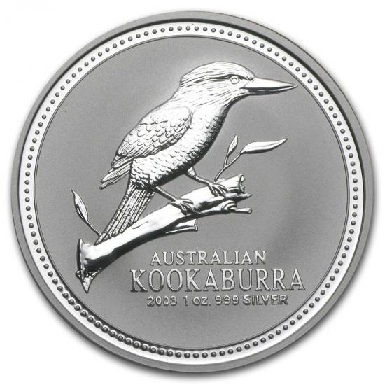 新品未使用 2003 オーストラリア クッカバラ(カワセミ) 銀貨 1オンス クリアーケース付き