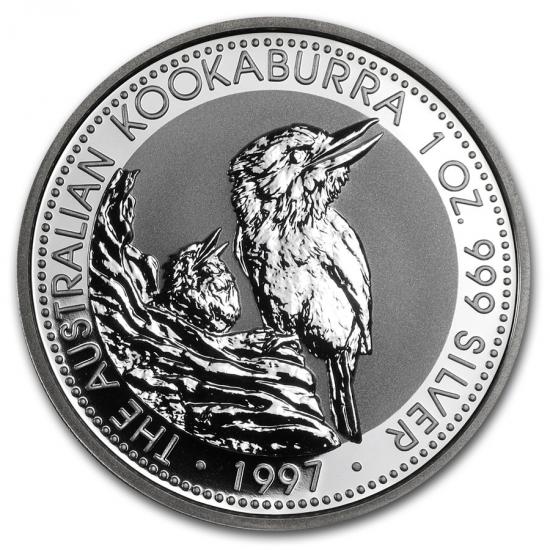 新品未使用 1997 オーストラリア クッカバラ(カワセミ) 銀貨 1オンス クリアーケース付き