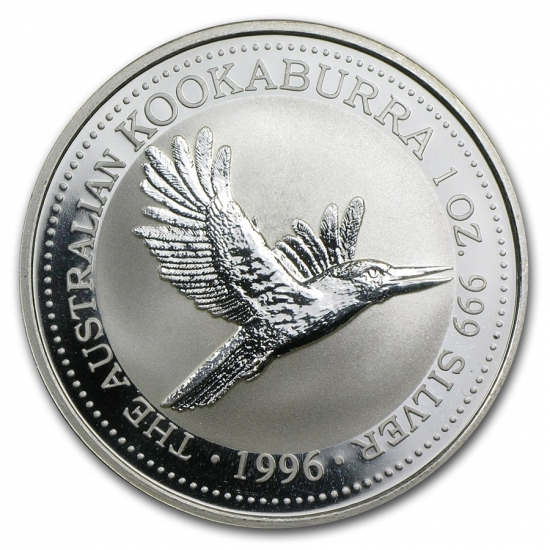 新品未使用 1996 オーストラリア クッカバラ(カワセミ) 銀貨 1オンス クリアーケース付き