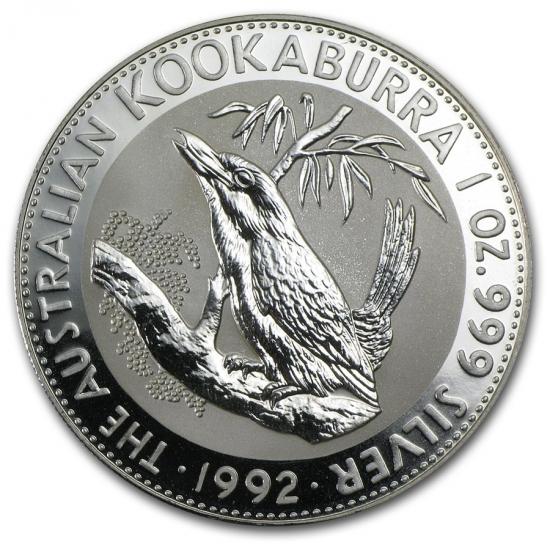 新品未使用 1992 オーストラリア クッカバラ(カワセミ) 銀貨 1オンス クリアーケース付き
