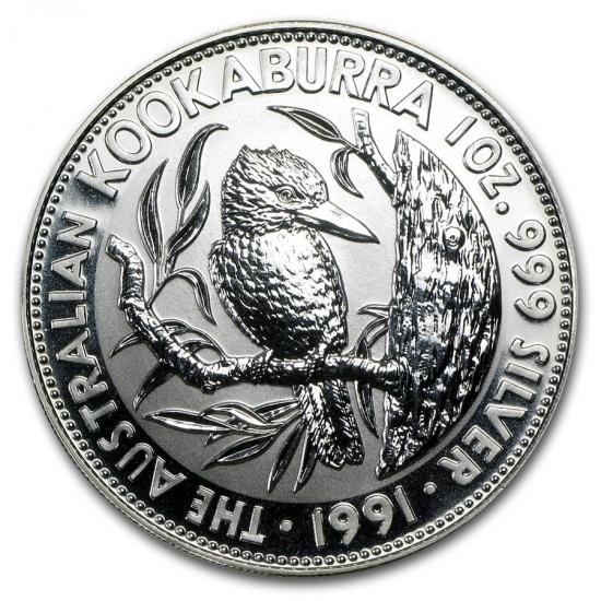 新品未使用 1991 オーストラリア クッカバラ(カワセミ) 銀貨 1オンス クリアーケース付き
