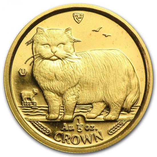 1989 マン島キャット金貨 1/5 オンス ペルシャ猫 ペルシャ猫 22mmクリアーケース付き