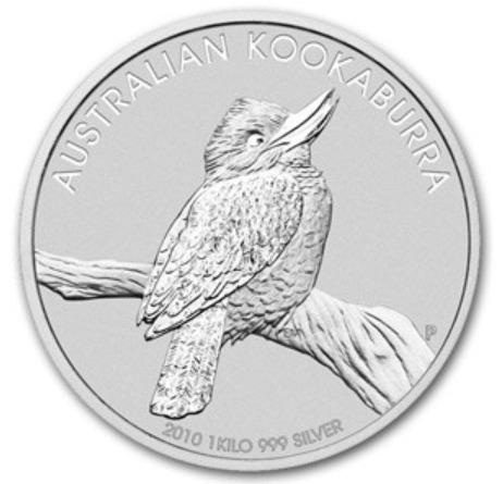 新品未使用 2010  オーストラリア クッカバラ(カワセミ)30ドル銀貨 1キロ クリアーケース付き