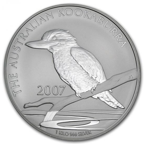 新品未使用 2007  オーストラリア クッカバラ(カワセミ)30ドル銀貨 1キロ クリアーケース付き