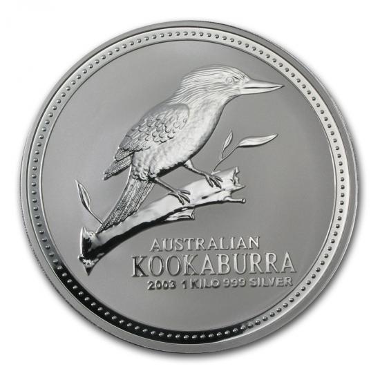 新品未使用 2003 オーストラリア クッカバラ(カワセミ)30ドル銀貨 1キロ クリアーケース付き