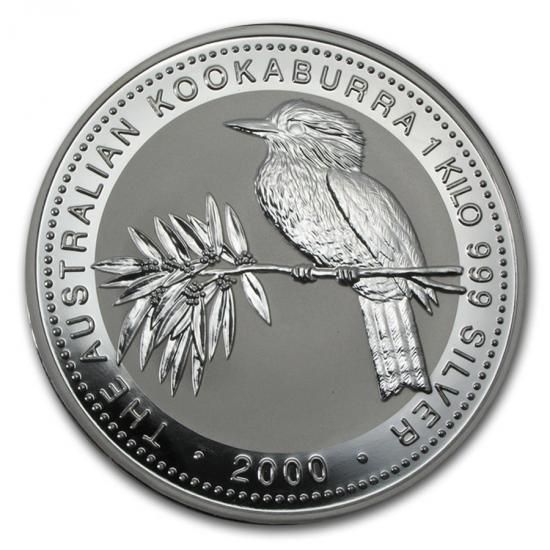 新品未使用 2000 オーストラリア クッカバラ(カワセミ)30ドル銀貨 1キロ クリアーケース付き