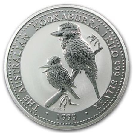 新品未使用 1999 オーストラリア クッカバラ(カワセミ)30ドル銀貨 1キロ クリアーケース付き