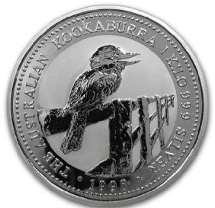 新品未使用 1998 オーストラリア クッカバラ(カワセミ)30ドル銀貨 1キロ クリアーケース付き