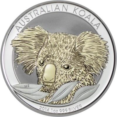 新品未使用 2014 オーストラリア コアラ 銀貨 1オンス ケース付き カラー