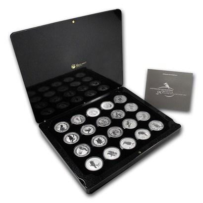 新品未使用 1990-2009オーストラリア クッカバラ20th 【20枚】セット 銀貨 1オンス 箱と説明書,クリアーケース付き