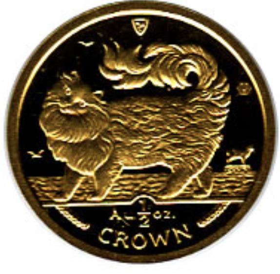 1993 マン島キャット金貨 1/2オンス メインクーンキャット クリアーケース付き
