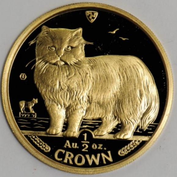 1989 マン島キャット金貨 1/2オンス ペルシャ猫 ペルシャ猫 クリアーケース付き