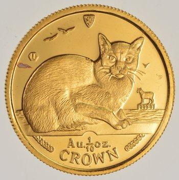 1996 マン島キャット金貨 1/10 オンス ビルマ猫 クリアーケース付き