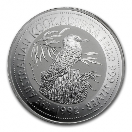 新品未使用 1992 オーストラリア クッカバラ(カワセミ)30ドル銀貨 1キロ クリアーケースとBOX付き