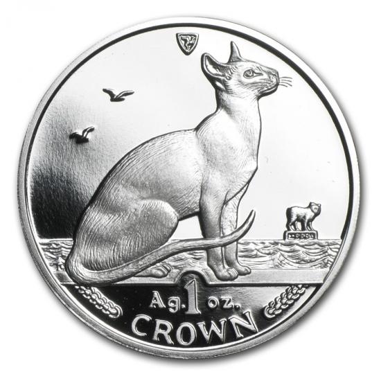 新品未使用 1992 マン島 1オンス 1クラウン銀貨プルーフ シャム猫