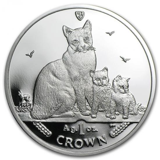 新品未使用 2014 マン島 1オンス 1クラウン銀貨プルーフ かんじき猫 スノーシューキャット