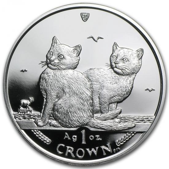 新品未使用 2003 マン島 1オンス 1クラウン銀貨プルーフ バリニーズキャット