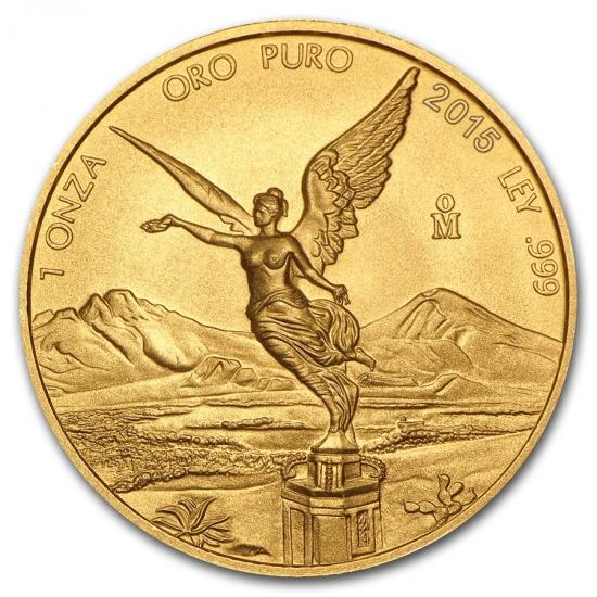 新品未使用 2015 メキシコ  リベルタッド金貨 1オンス 34mmクリアーケース付き