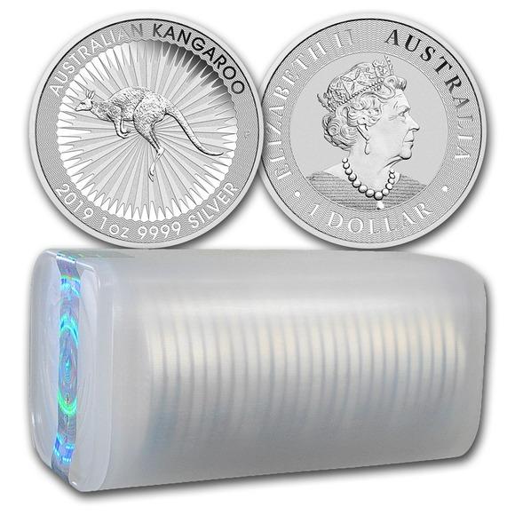 2019 オーストラリア カンガルー銀貨 1オンス 25枚セット ミントロールと41mmクリアーケース付き 新品未使用