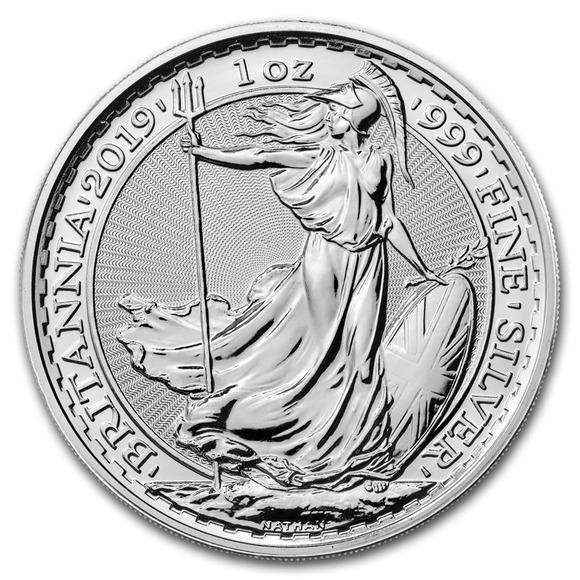 2019 イギリス ブリタニア銀貨 1オンス 5枚セット (39mmクリアーケース付き) 新品未使用