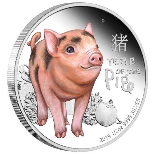 2019 オーストラリア 子豚 銀貨 1/2オンス  プルーフ 箱とクリアケース付き 新品未使用