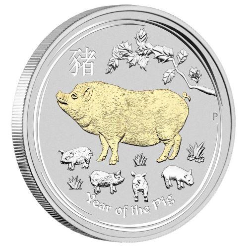 2019 オーストラリア 干支・猪 銀貨 金メッキ版 1オンス 箱とクリアケース付き 新品未使用