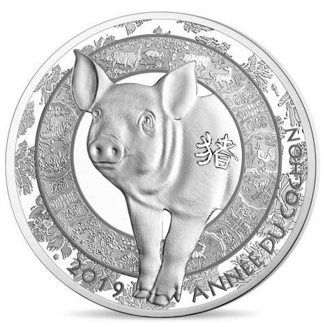 2019 フランス 干支:亥年 10ユーロ銀貨 プルーフ クリアケース付き 新品未使用
