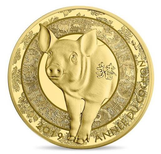 2019 フランス 干支:亥年 50ユーロ金貨 1/4オンス プルーフ 箱とクリアケース付き 新品未使用