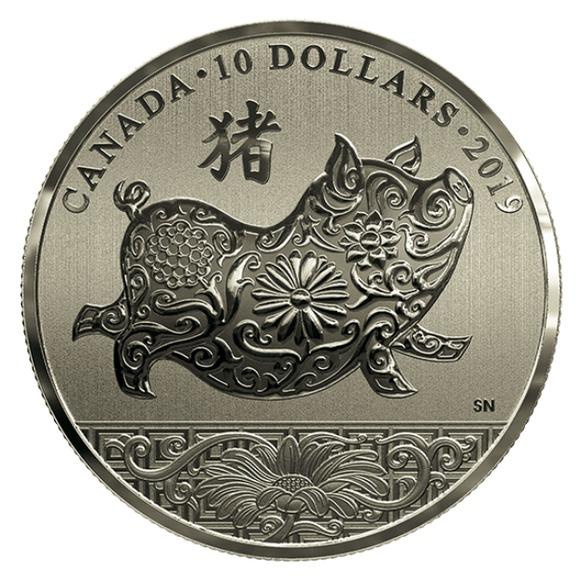 2019 カナダ 干支:亥年 銀貨 1/2オンス 箱とクリアケース付き 新品未使用