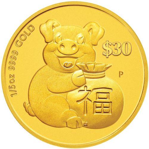 2019 ツバル 干支・亥年「福」 金貨 1/5オンス 箱とクリアケース付き 新品未使用
