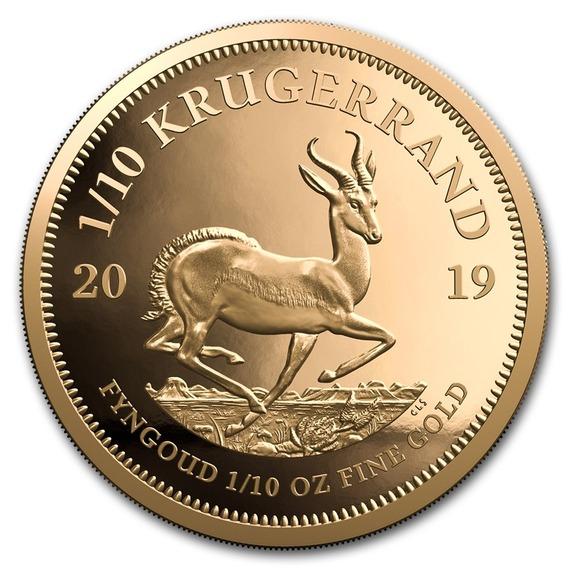 2019 南アフリカ クルーガーランド金貨 1/10オンス プルーフ 箱とクリアーケース付き 新品未使用