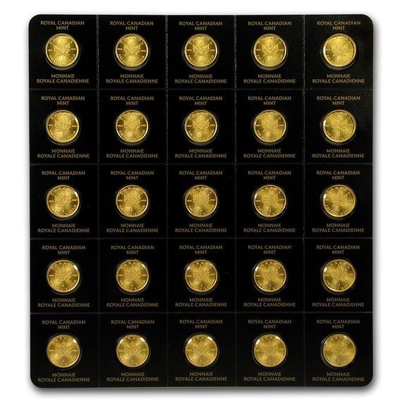 2019 カナダ メイプルリーフ金貨 1g 25枚セット(真空パック入り) 新品未使用